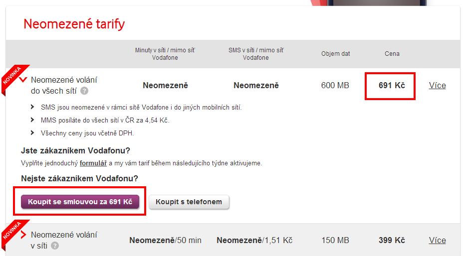 Stránka s nabídkou tarifů Vodafone.cz